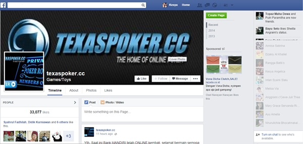 Tampilan Facebook Pokercc