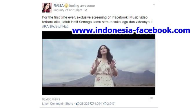 Raisa Promosikan Video Klip Terbarunya Lewat Facebook