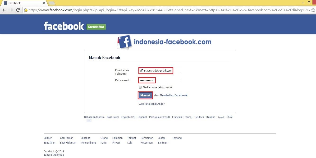 Login Ke Akun Facebook Anda