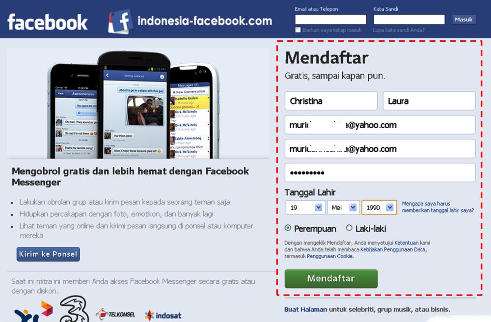 Tampilan Halaman Pendaftaran Facebook