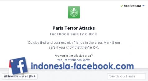 Fitur Facebook Bantu Korban Selamat Teror Paris