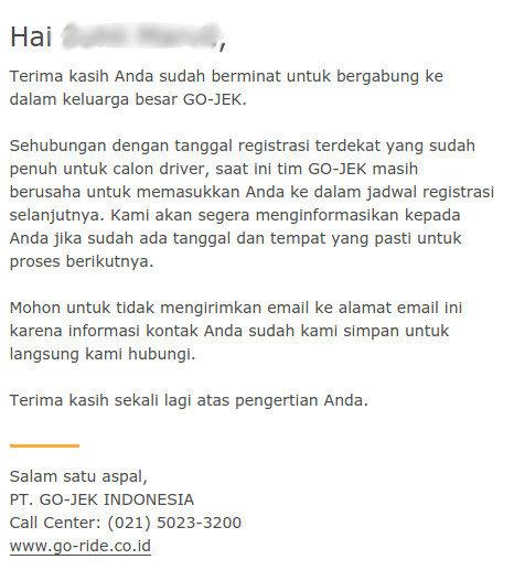 Pesan Masuk Konfirmasi Pendaftaran GO-JEK